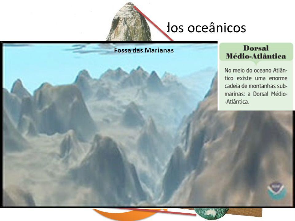 Morfologia dos fundos oceânicos Fossas oceânicas- Depressões estreitas onde o fundo marinho atinge grandes profundidades. São muito profundas onde o f
