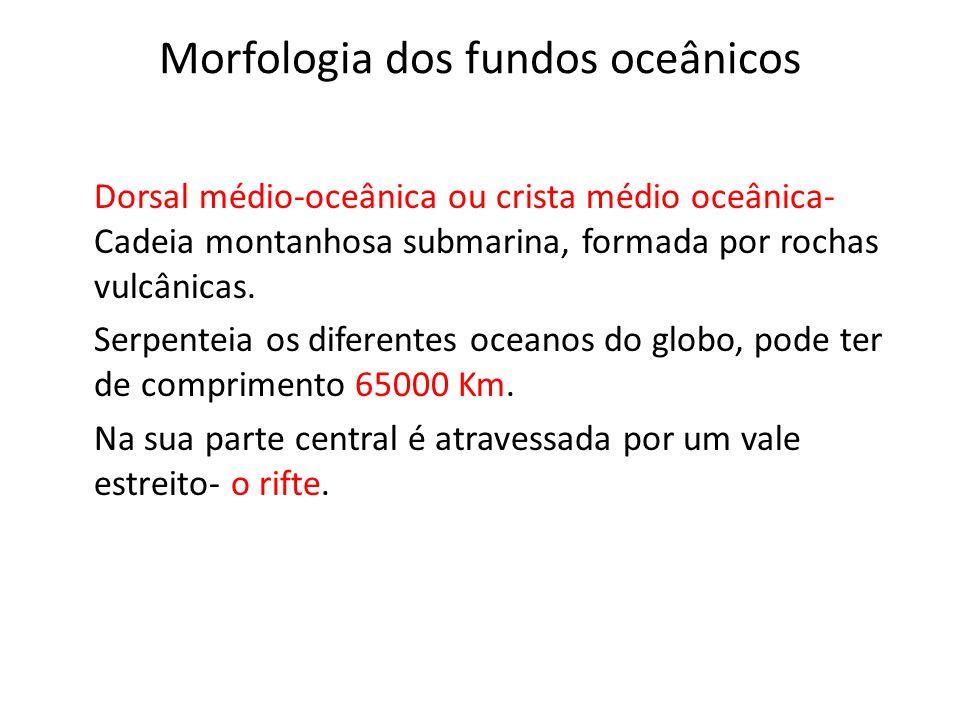 Morfologia dos fundos oceânicos Dorsal médio-oceânica ou crista médio oceânica- Cadeia montanhosa submarina, formada por rochas vulcânicas. Serpenteia