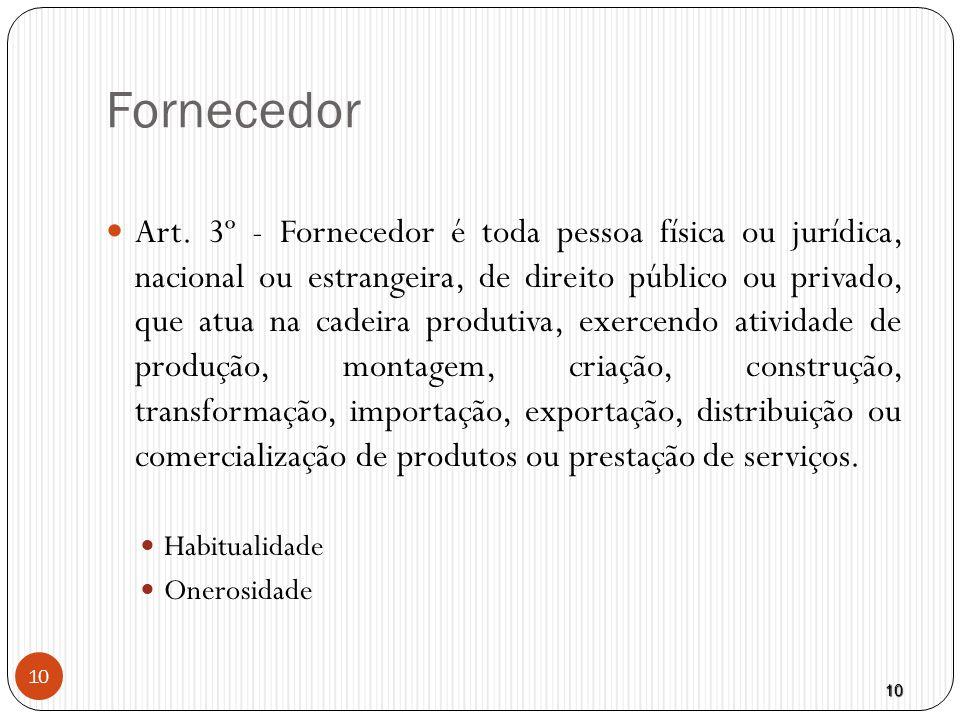 10 10 Fornecedor  Art. 3º - Fornecedor é toda pessoa física ou jurídica, nacional ou estrangeira, de direito público ou privado, que atua na cadeira