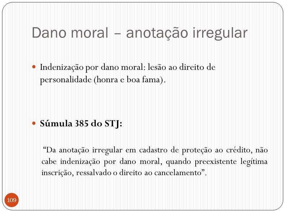 """Dano moral – anotação irregular  Indenização por dano moral: lesão ao direito de personalidade (honra e boa fama).  Súmula 385 do STJ: """"Da anotação"""