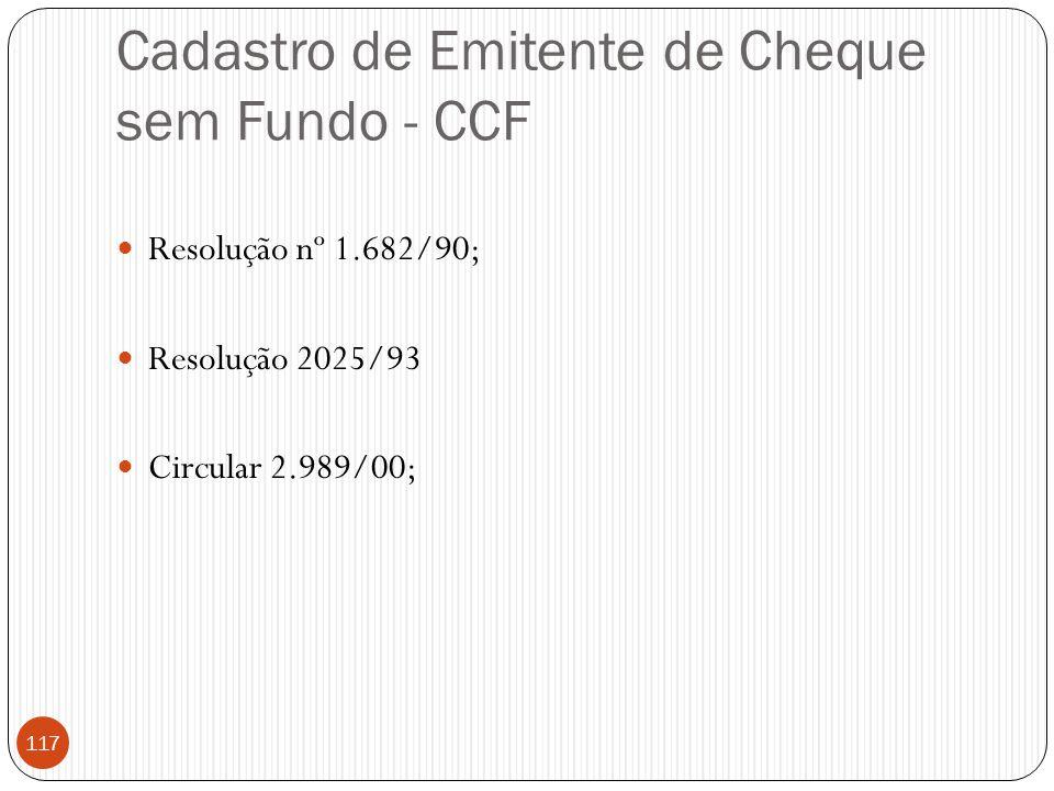 Cadastro de Emitente de Cheque sem Fundo - CCF  Resolução nº 1.682/90;  Resolução 2025/93  Circular 2.989/00; 117