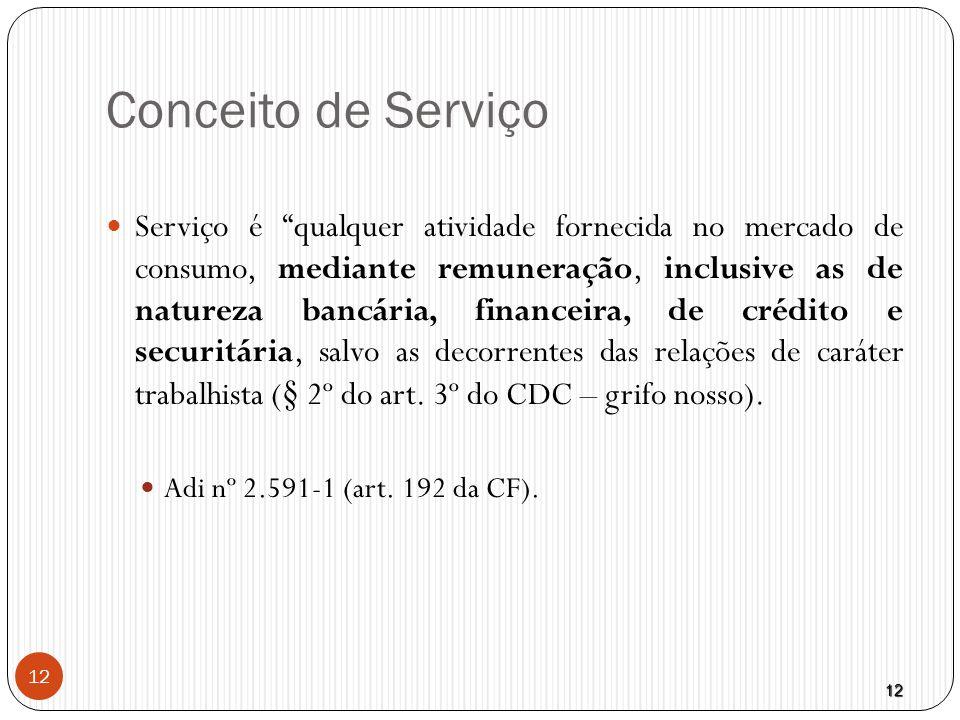 """12 12 Conceito de Serviço  Serviço é """"qualquer atividade fornecida no mercado de consumo, mediante remuneração, inclusive as de natureza bancária, fi"""