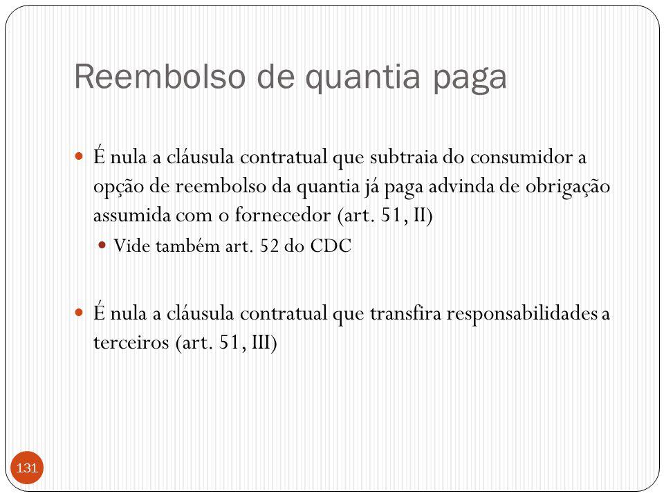 Reembolso de quantia paga  É nula a cláusula contratual que subtraia do consumidor a opção de reembolso da quantia já paga advinda de obrigação assum