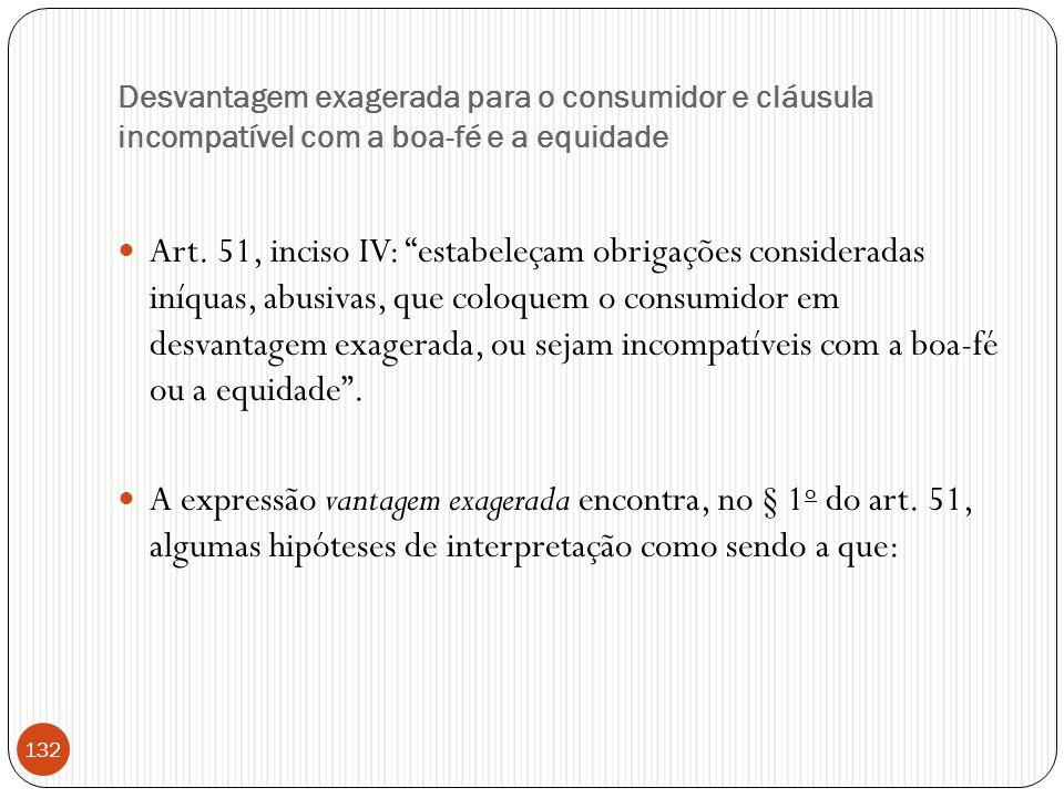 """Desvantagem exagerada para o consumidor e cláusula incompatível com a boa-fé e a equidade  Art. 51, inciso IV: """"estabeleçam obrigações consideradas i"""