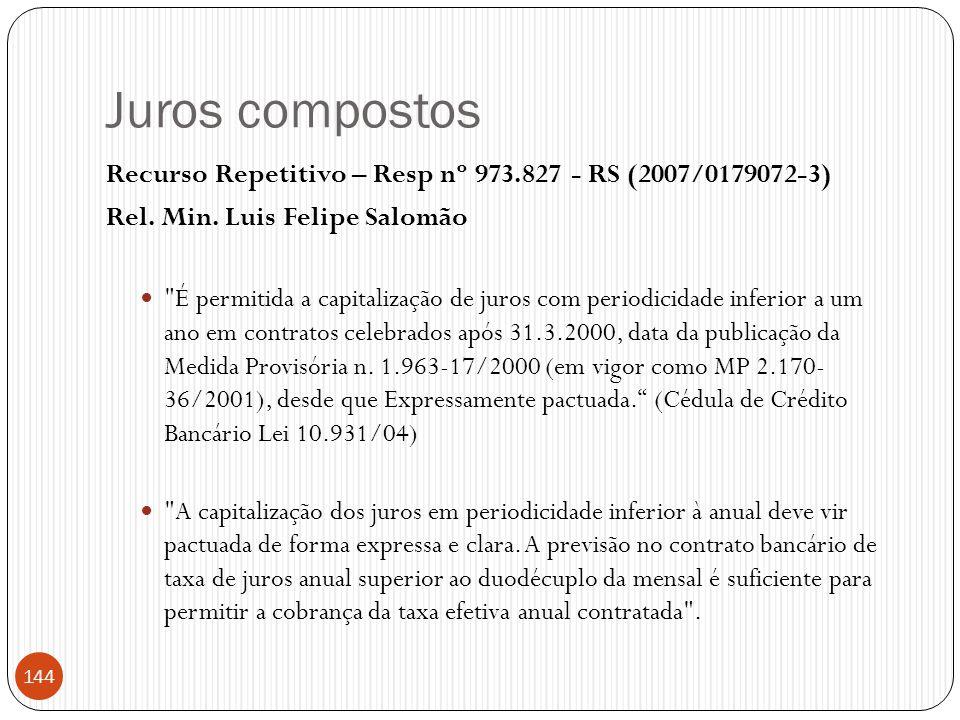 Juros compostos Recurso Repetitivo – Resp nº 973.827 - RS (2007/0179072-3) Rel. Min. Luis Felipe Salomão 