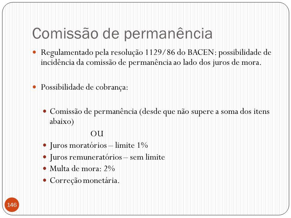 Comissão de permanência  Regulamentado pela resolução 1129/86 do BACEN: possibilidade de incidência da comissão de permanência ao lado dos juros de m