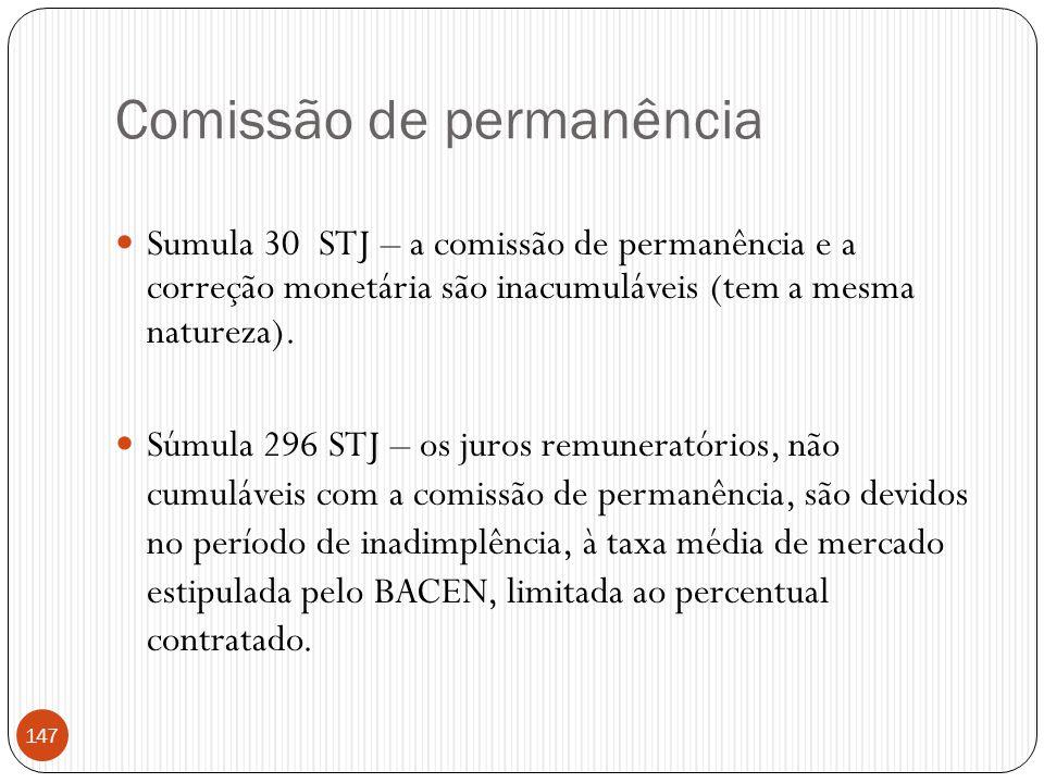 Comissão de permanência  Sumula 30 STJ – a comissão de permanência e a correção monetária são inacumuláveis (tem a mesma natureza).  Súmula 296 STJ