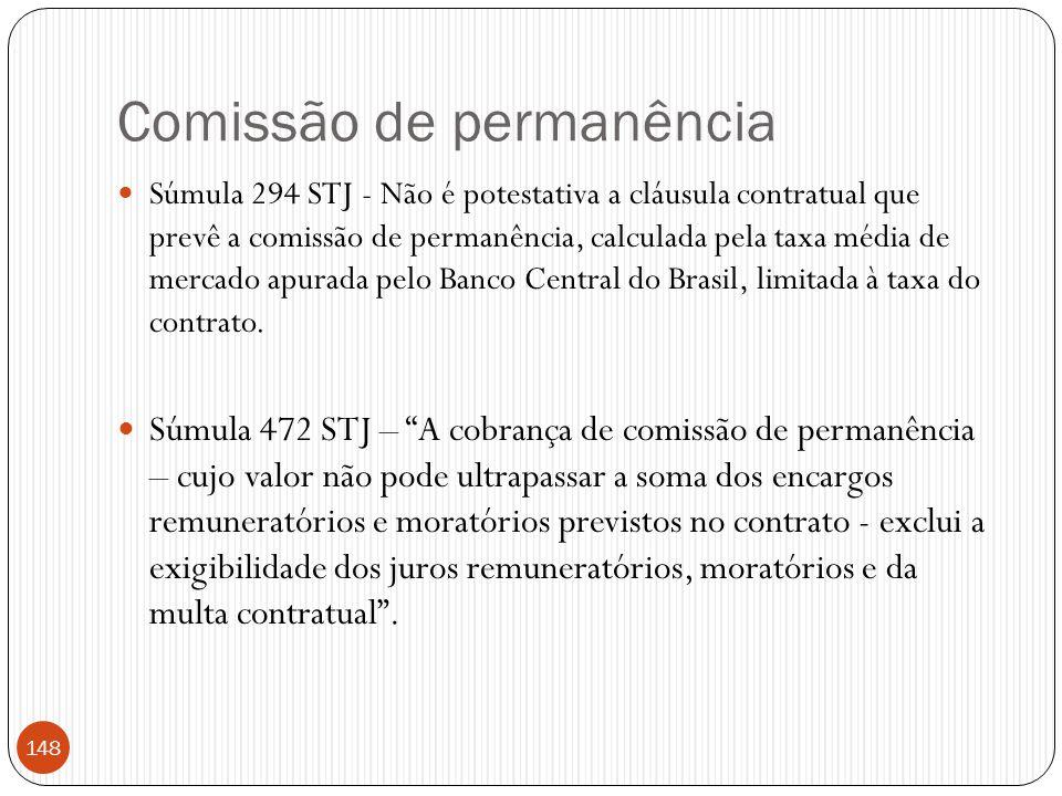 Comissão de permanência  Súmula 294 STJ - Não é potestativa a cláusula contratual que prevê a comissão de permanência, calculada pela taxa média de m