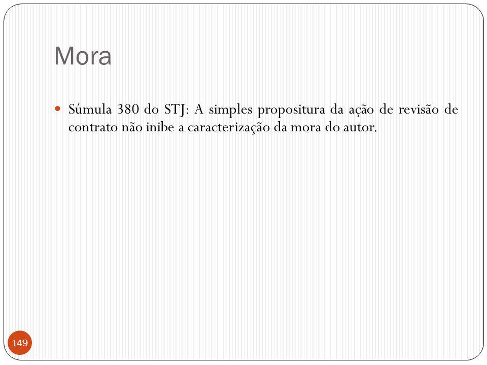 Mora  Súmula 380 do STJ: A simples propositura da ação de revisão de contrato não inibe a caracterização da mora do autor. 149