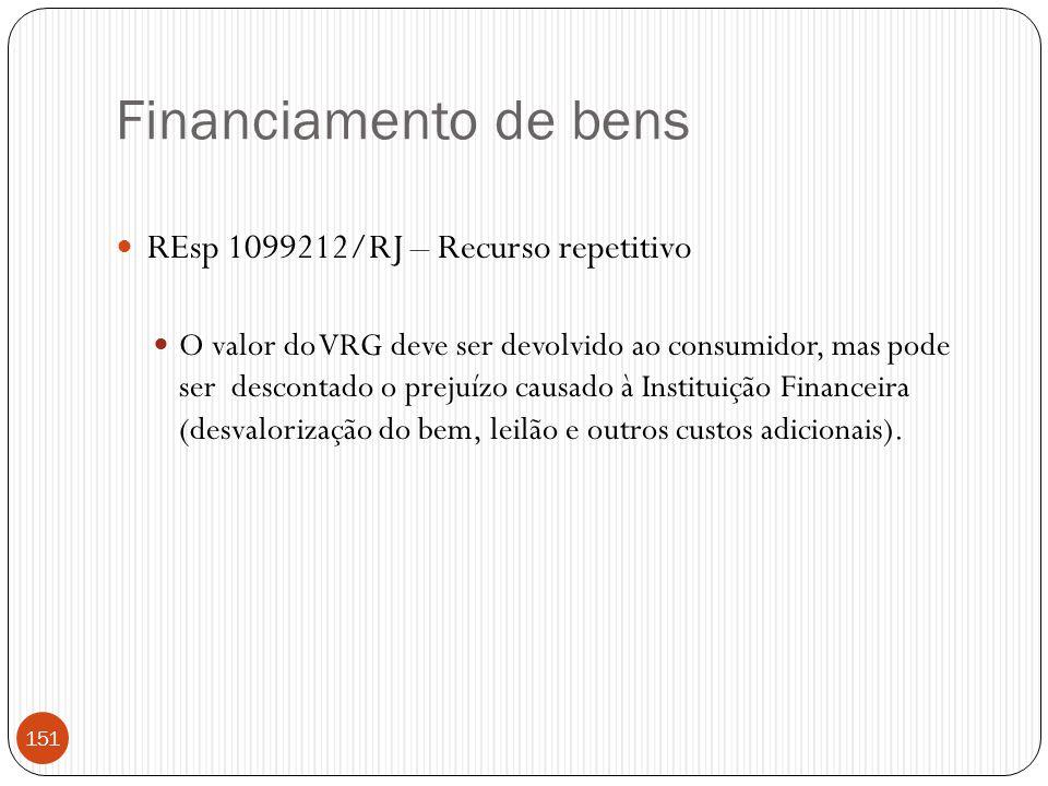 Financiamento de bens  REsp 1099212/RJ – Recurso repetitivo  O valor do VRG deve ser devolvido ao consumidor, mas pode ser descontado o prejuízo cau