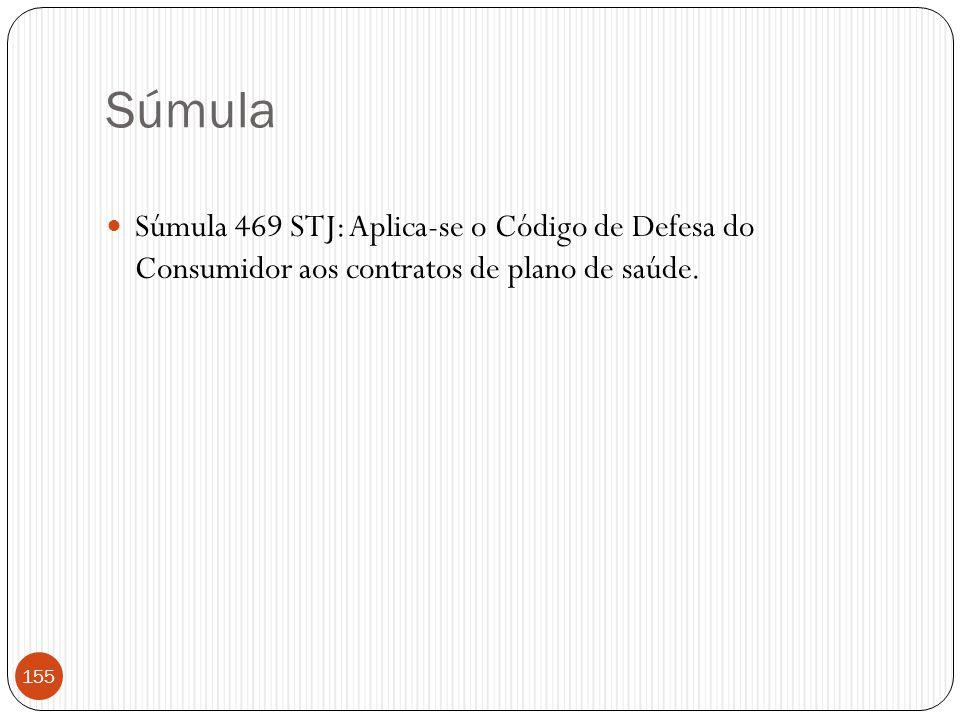 Súmula  Súmula 469 STJ: Aplica-se o Código de Defesa do Consumidor aos contratos de plano de saúde. 155