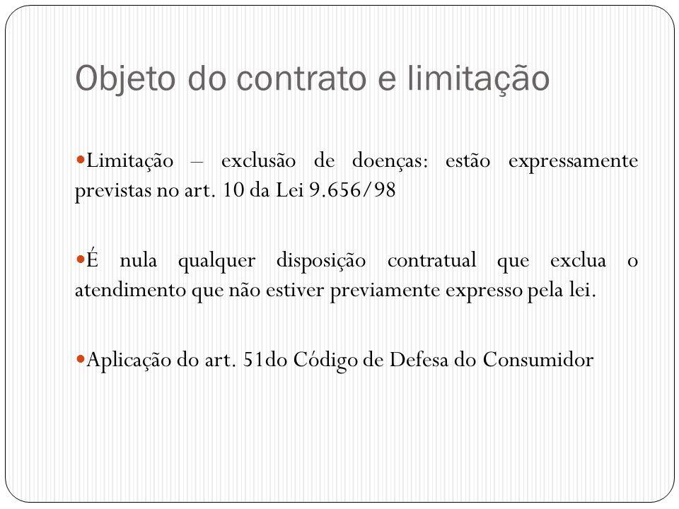 Objeto do contrato e limitação  Limitação – exclusão de doenças: estão expressamente previstas no art. 10 da Lei 9.656/98  É nula qualquer disposiçã