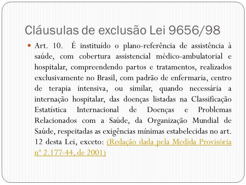 Cláusulas de exclusão Lei 9656/98  Art. 10. É instituído o plano-referência de assistência à saúde, com cobertura assistencial médico-ambulatorial e