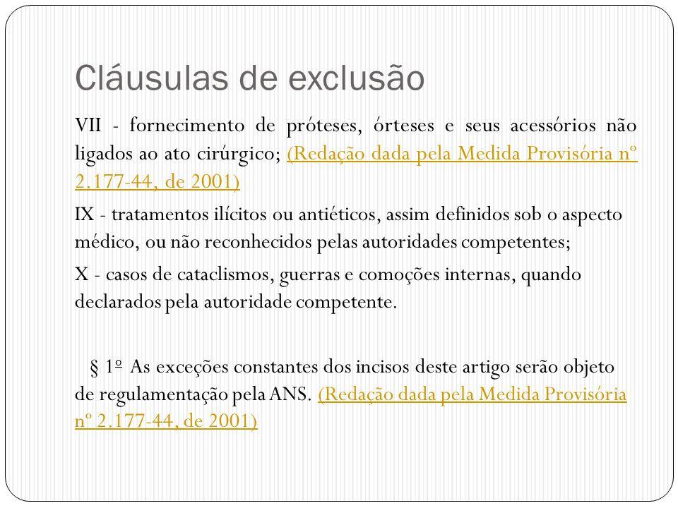 Cláusulas de exclusão VII - fornecimento de próteses, órteses e seus acessórios não ligados ao ato cirúrgico; (Redação dada pela Medida Provisória nº