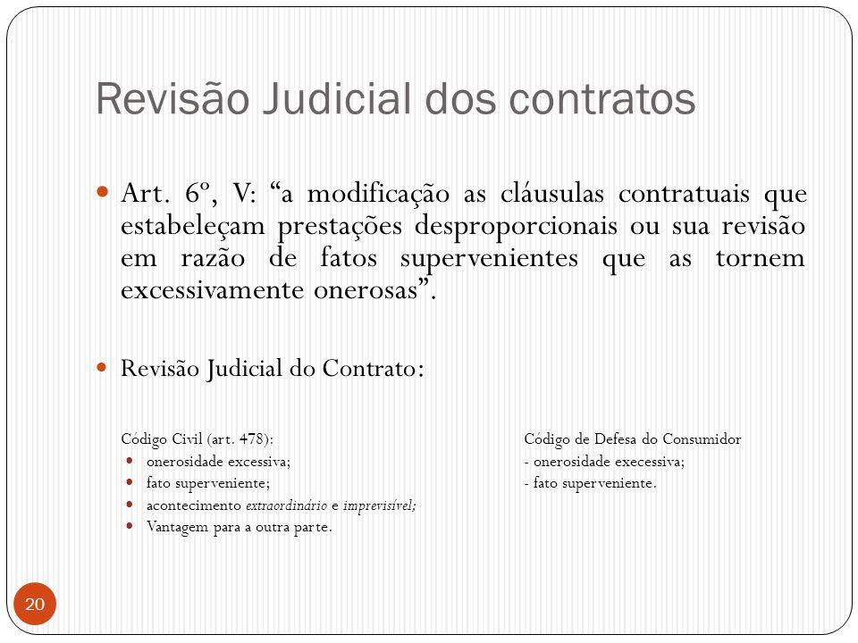 """Revisão Judicial dos contratos  Art. 6º, V: """"a modificação as cláusulas contratuais que estabeleçam prestações desproporcionais ou sua revisão em raz"""
