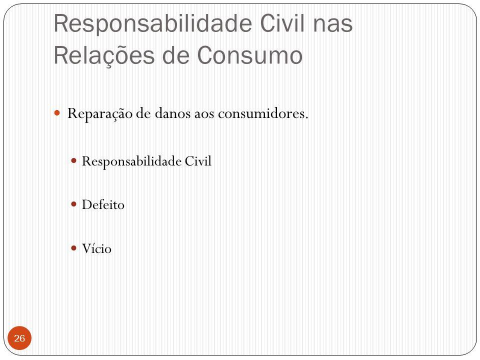 Responsabilidade Civil nas Relações de Consumo  Reparação de danos aos consumidores.  Responsabilidade Civil  Defeito  Vício 26