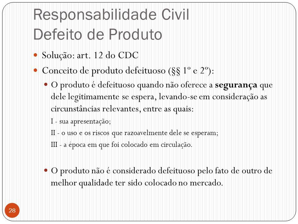 Responsabilidade Civil Defeito de Produto  Solução: art. 12 do CDC  Conceito de produto defeituoso (§§ 1º e 2º):  O produto é defeituoso quando não