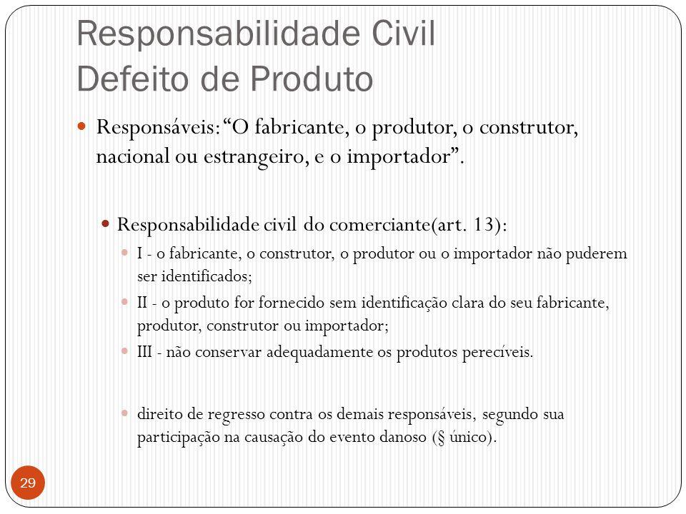 """Responsabilidade Civil Defeito de Produto  Responsáveis: """"O fabricante, o produtor, o construtor, nacional ou estrangeiro, e o importador"""".  Respons"""