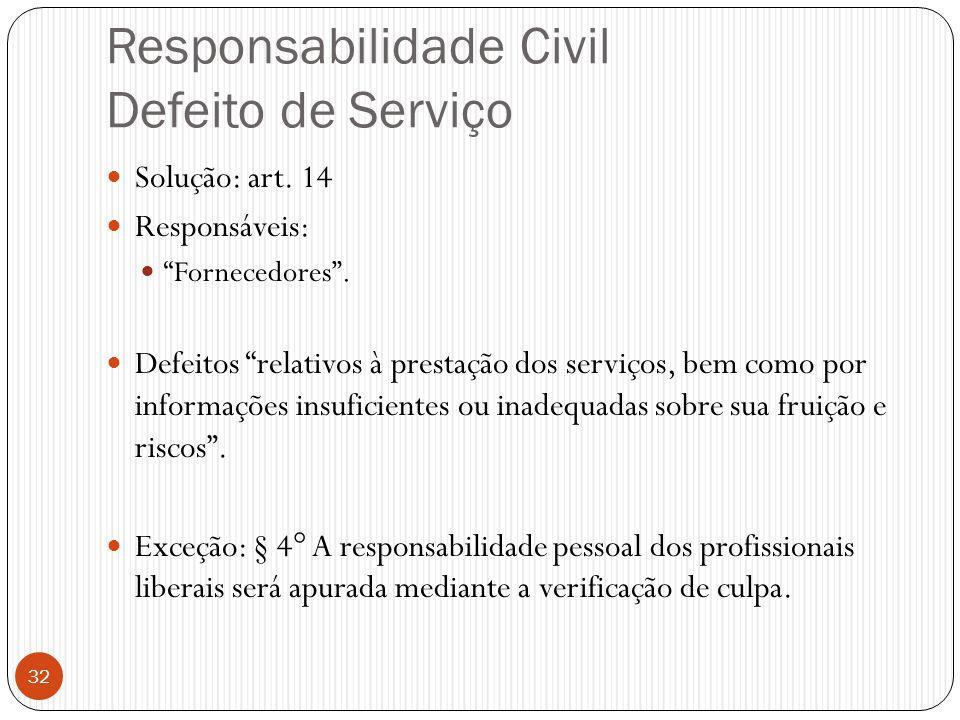 """Responsabilidade Civil Defeito de Serviço  Solução: art. 14  Responsáveis:  """"Fornecedores"""".  Defeitos """"relativos à prestação dos serviços, bem com"""