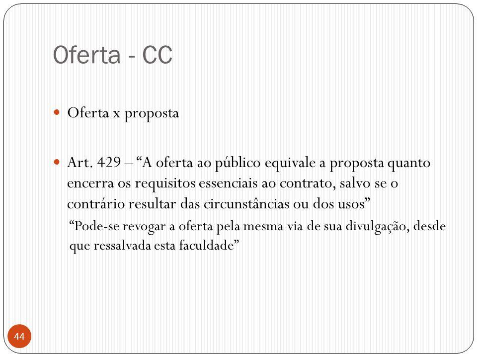 """Oferta - CC  Oferta x proposta  Art. 429 – """"A oferta ao público equivale a proposta quanto encerra os requisitos essenciais ao contrato, salvo se o"""