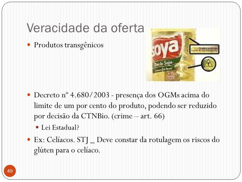 Veracidade da oferta  Produtos transgênicos  Decreto nº 4.680/2003 - presença dos OGMs acima do limite de um por cento do produto, podendo ser reduz
