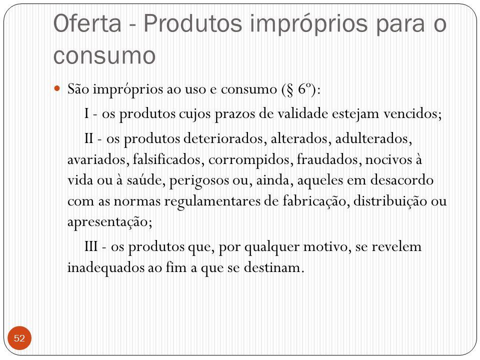 Oferta - Produtos impróprios para o consumo  São impróprios ao uso e consumo (§ 6º): I - os produtos cujos prazos de validade estejam vencidos; II -
