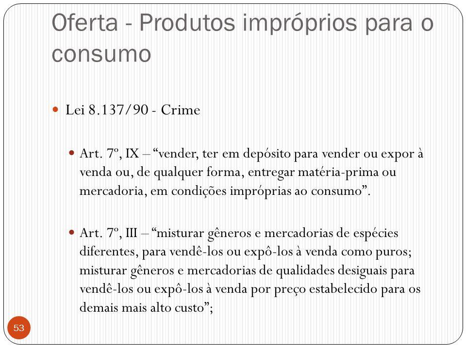 """Oferta - Produtos impróprios para o consumo  Lei 8.137/90 - Crime  Art. 7º, IX – """"vender, ter em depósito para vender ou expor à venda ou, de qualqu"""