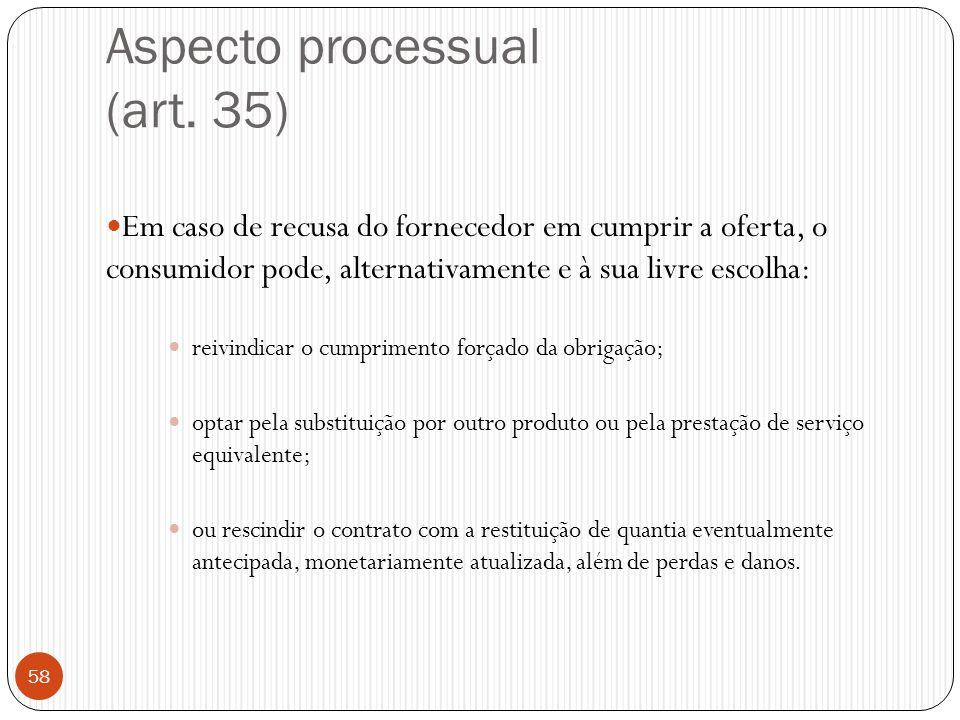 Aspecto processual (art. 35)  Em caso de recusa do fornecedor em cumprir a oferta, o consumidor pode, alternativamente e à sua livre escolha:  reivi