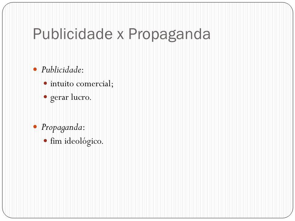 Publicidade x Propaganda  Publicidade:  intuito comercial;  gerar lucro.  Propaganda:  fim ideológico.