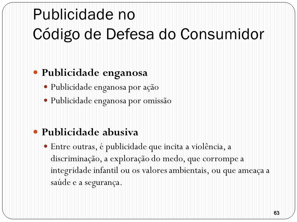 63 Publicidade no Código de Defesa do Consumidor  Publicidade enganosa  Publicidade enganosa por ação  Publicidade enganosa por omissão  Publicida