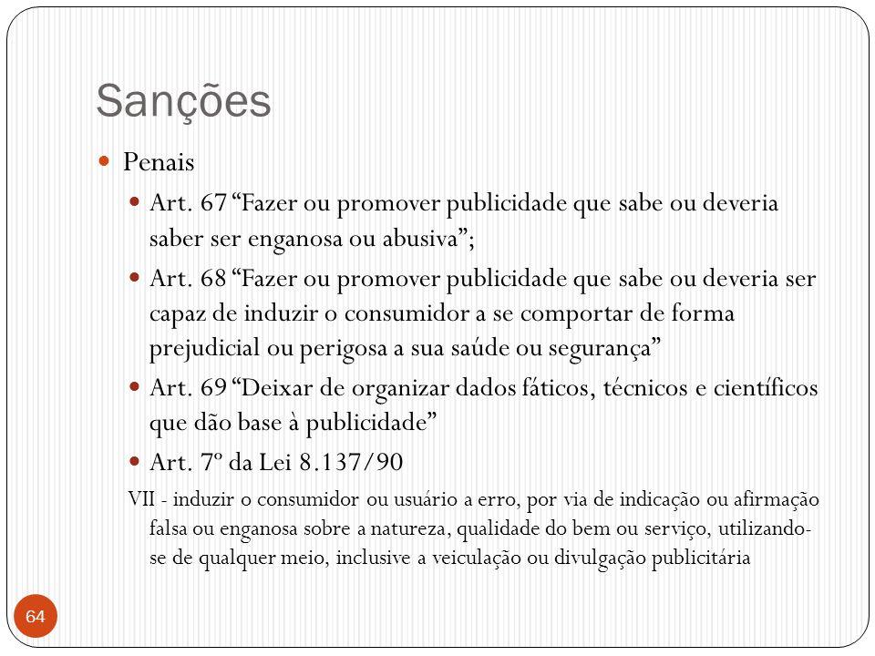 """Sanções  Penais  Art. 67 """"Fazer ou promover publicidade que sabe ou deveria saber ser enganosa ou abusiva"""";  Art. 68 """"Fazer ou promover publicidade"""