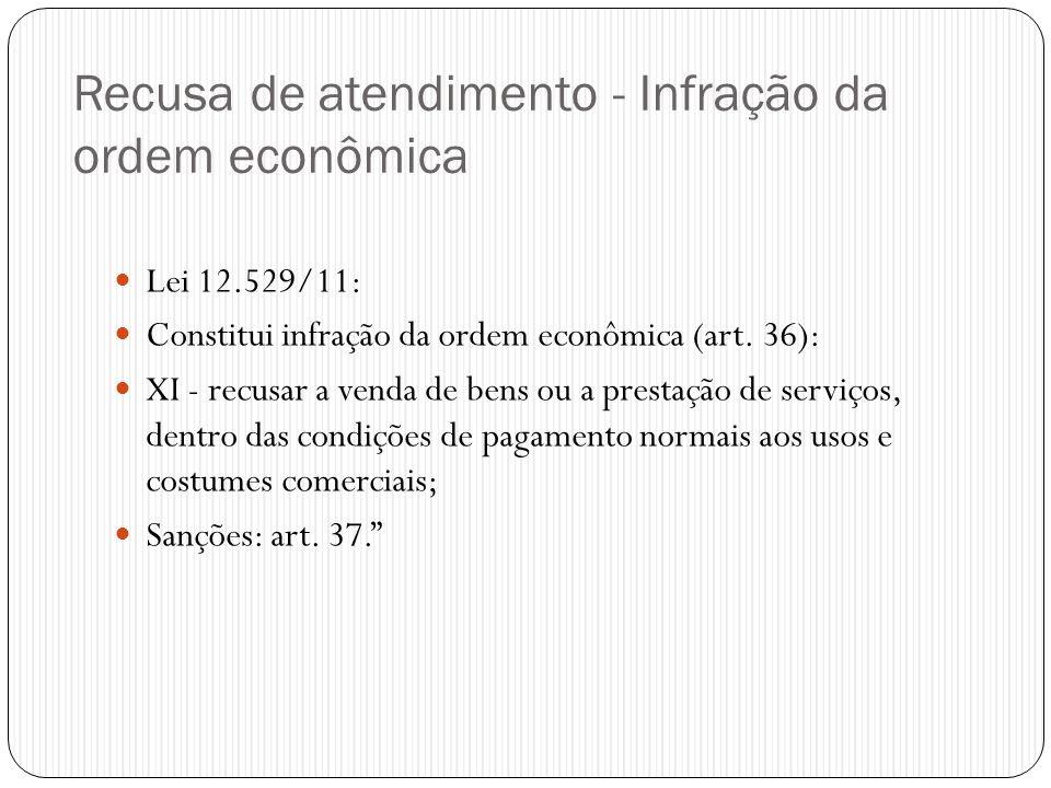 Recusa de atendimento - Infração da ordem econômica  Lei 12.529/11:  Constitui infração da ordem econômica (art. 36):  XI - recusar a venda de bens