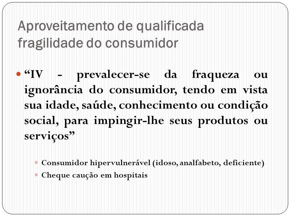 """Aproveitamento de qualificada fragilidade do consumidor  """"IV - prevalecer-se da fraqueza ou ignorância do consumidor, tendo em vista sua idade, saúde"""
