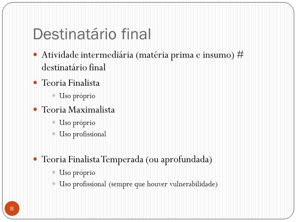 Destinatário final  Atividade intermediária (matéria prima e insumo) # destinatário final  Teoria Finalista  Uso próprio  Teoria Maximalista  Uso