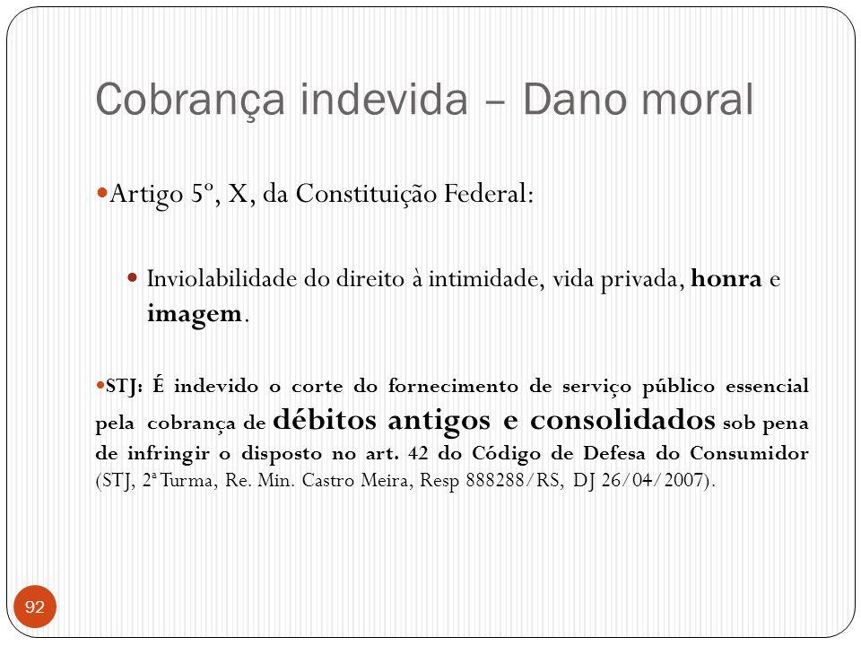 Cobrança indevida – Dano moral 92  Artigo 5º, X, da Constituição Federal:  Inviolabilidade do direito à intimidade, vida privada, honra e imagem. 