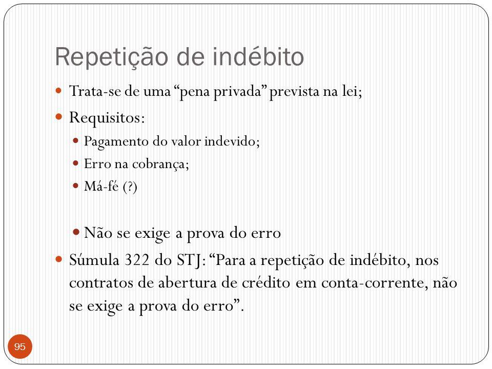 """Repetição de indébito  Trata-se de uma """"pena privada"""" prevista na lei;  Requisitos:  Pagamento do valor indevido;  Erro na cobrança;  Má-fé (?) """