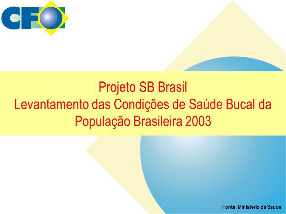 Projeto SB Brasil Levantamento das Condições de Saúde Bucal da População Brasileira 2003 Fonte: Ministério da Saúde