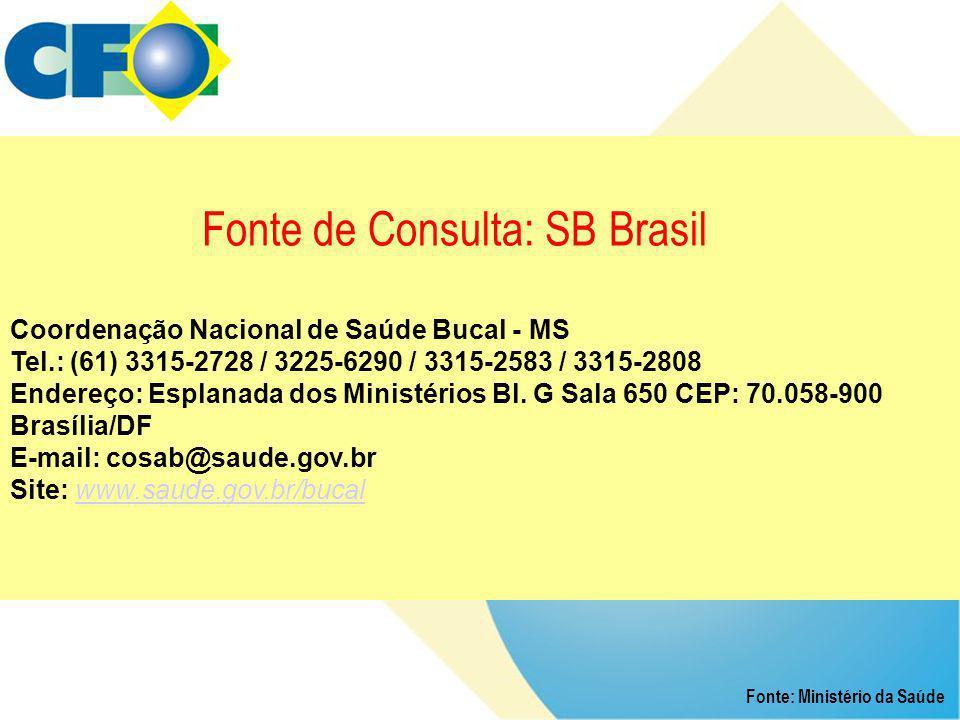Fonte de Consulta: SB Brasil Coordenação Nacional de Saúde Bucal - MS Tel.: (61) 3315-2728 / 3225-6290 / 3315-2583 / 3315-2808 Endereço: Esplanada dos