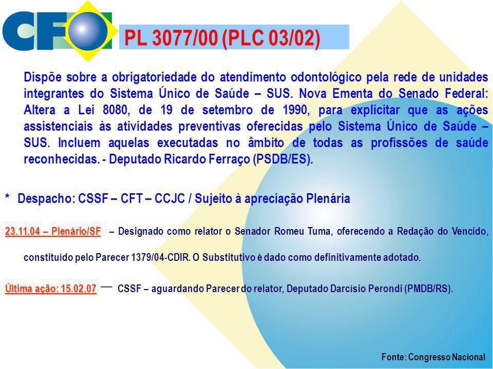 PL 3077/00 (PLC 03/02) Dispõe sobre a obrigatoriedade do atendimento odontológico pela rede de unidades integrantes do Sistema Único de Saúde – SUS. N