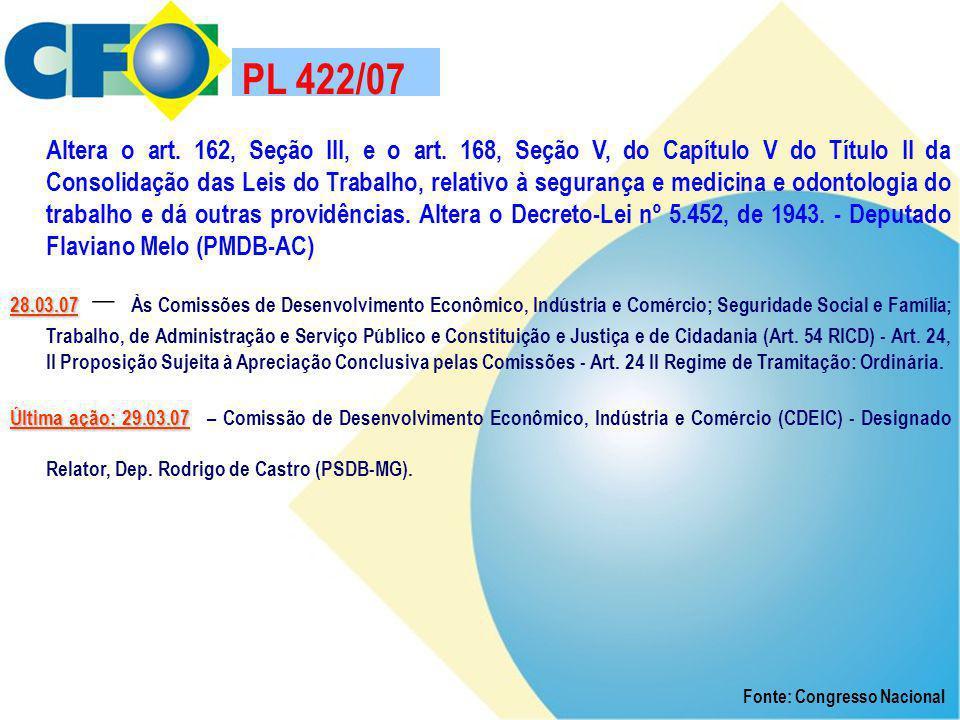 PL 422/07 Altera o art. 162, Seção III, e o art. 168, Seção V, do Capítulo V do Título II da Consolidação das Leis do Trabalho, relativo à segurança e