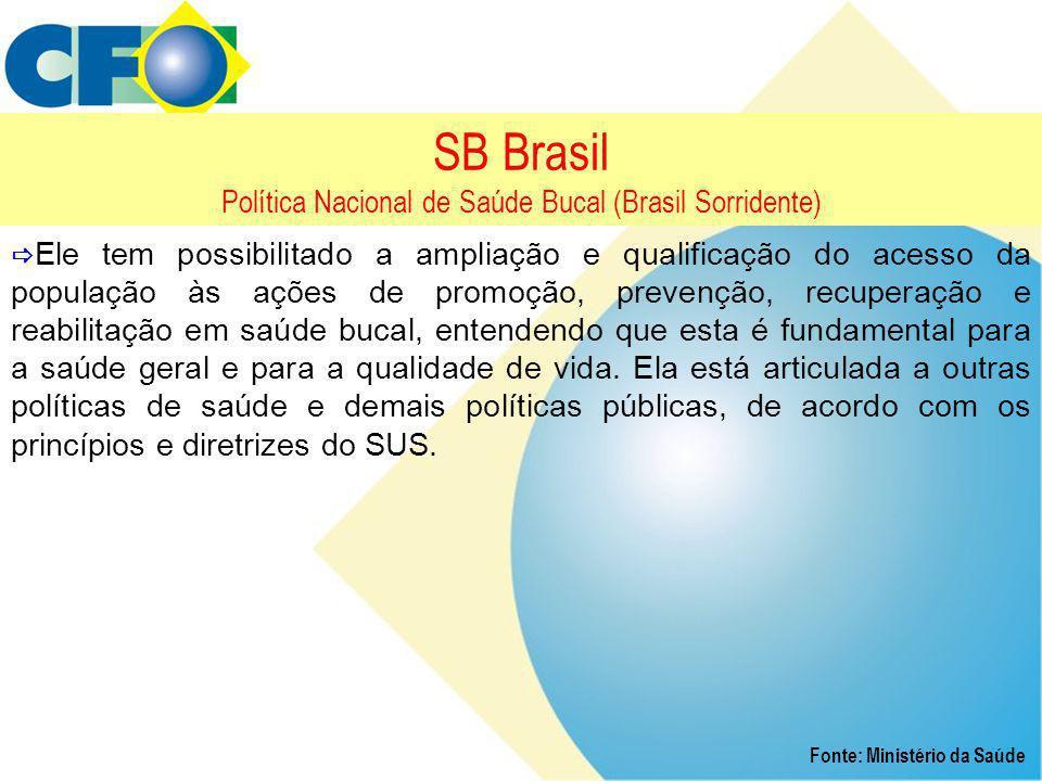 SB Brasil Política Nacional de Saúde Bucal (Brasil Sorridente)  Ele tem possibilitado a ampliação e qualificação do acesso da população às ações de p