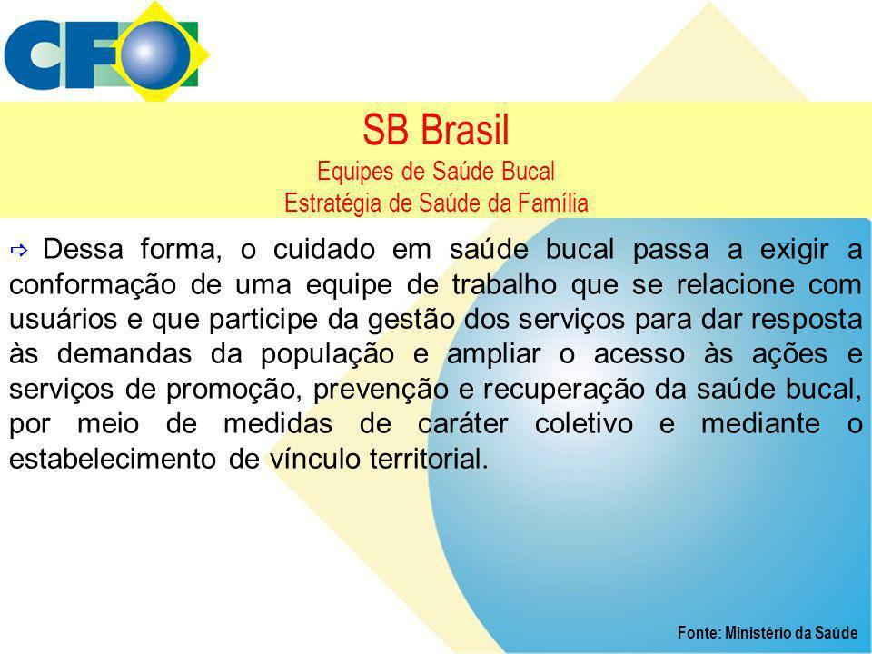 SB Brasil Equipes de Saúde Bucal Estratégia de Saúde da Família  Dessa forma, o cuidado em saúde bucal passa a exigir a conformação de uma equipe de