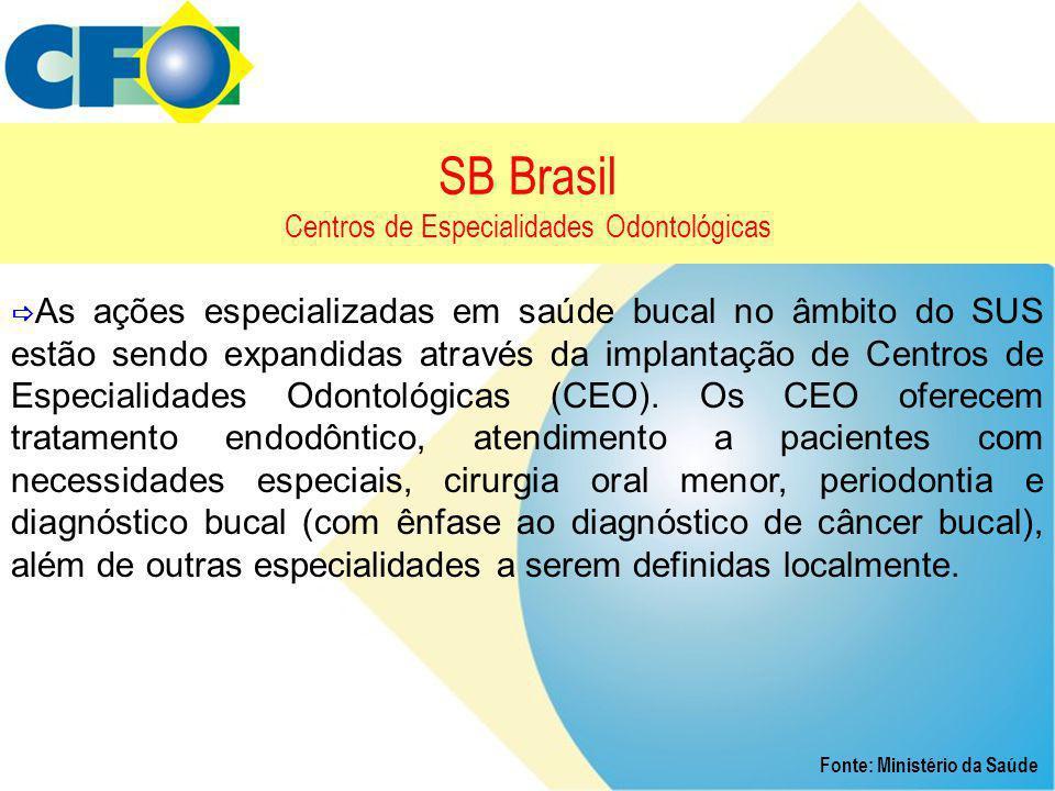SB Brasil Centros de Especialidades Odontológicas Fonte: Ministério da Saúde  As ações especializadas em saúde bucal no âmbito do SUS estão sendo exp