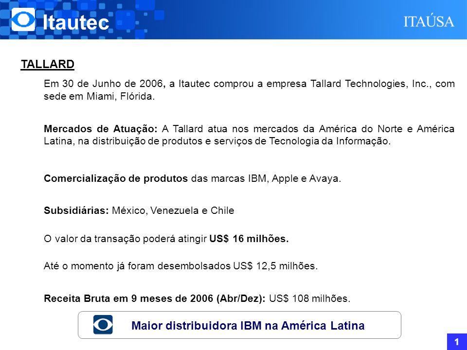 Itautec 1 TALLARD Em 30 de Junho de 2006, a Itautec comprou a empresa Tallard Technologies, Inc., com sede em Miami, Flórida.