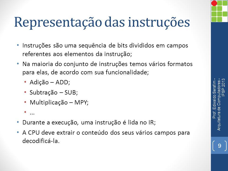 Representação das instruções • Instrução de 16 bits hipotética Prof.