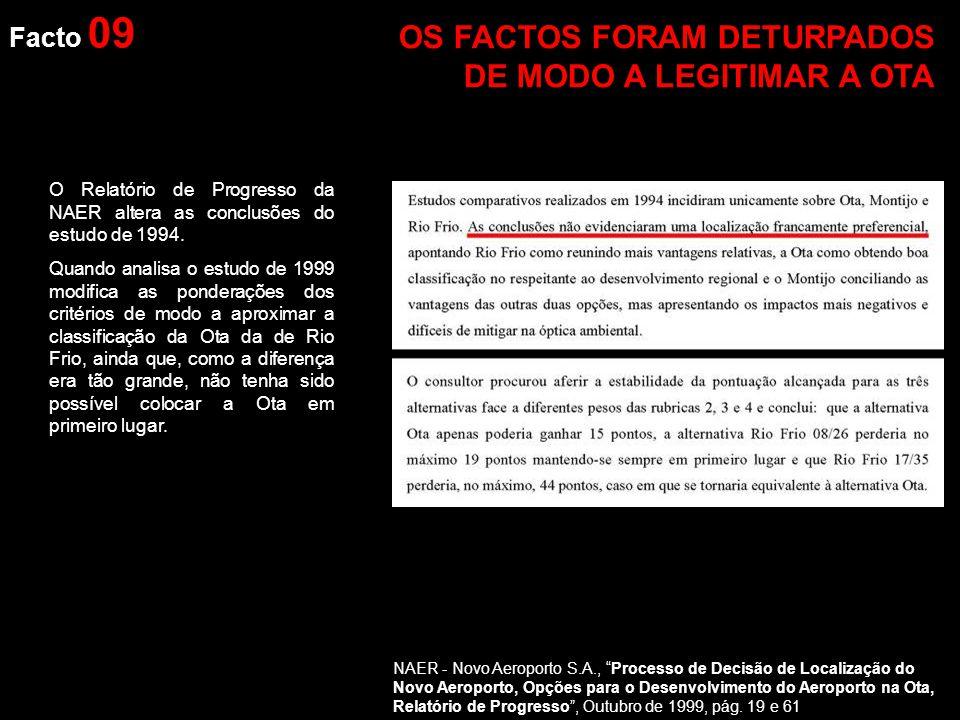 Facto 09 O Relatório de Progresso da NAER altera as conclusões do estudo de 1994.
