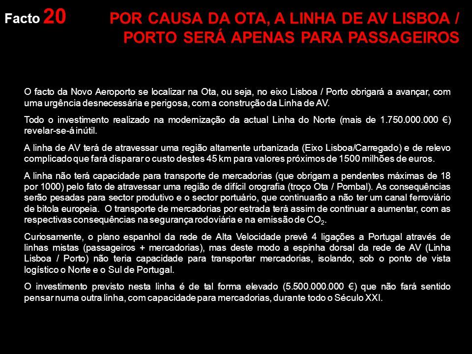 Facto 20 O facto da Novo Aeroporto se localizar na Ota, ou seja, no eixo Lisboa / Porto obrigará a avançar, com uma urgência desnecessária e perigosa, com a construção da Linha de AV.