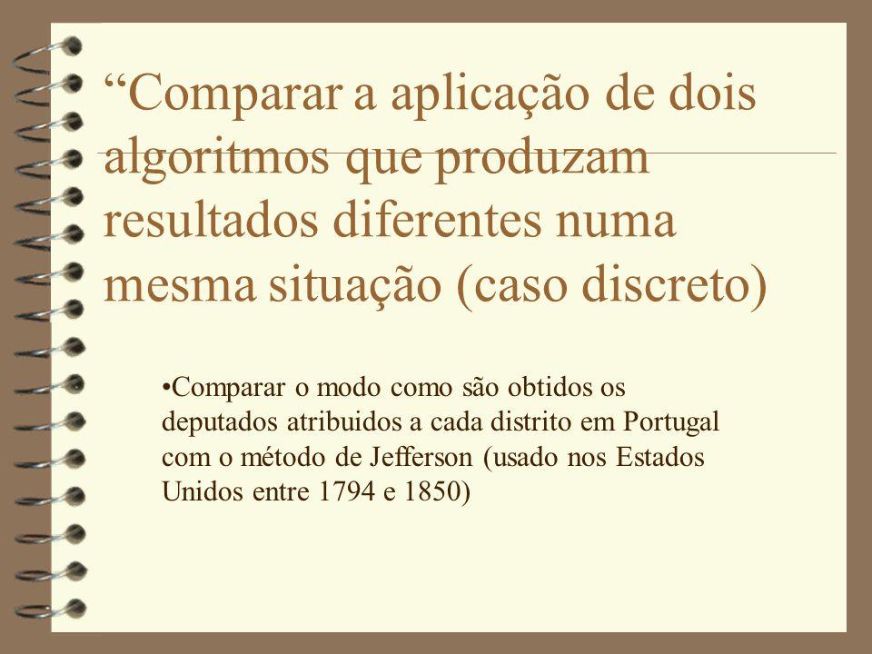 Comparar a aplicação de dois algoritmos que produzam resultados diferentes numa mesma situação (caso discreto) •Comparar o modo como são obtidos os deputados atribuidos a cada distrito em Portugal com o método de Jefferson (usado nos Estados Unidos entre 1794 e 1850)