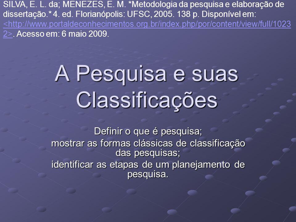 A Pesquisa e suas Classificações Definir o que é pesquisa; mostrar as formas clássicas de classificação das pesquisas; identificar as etapas de um pla