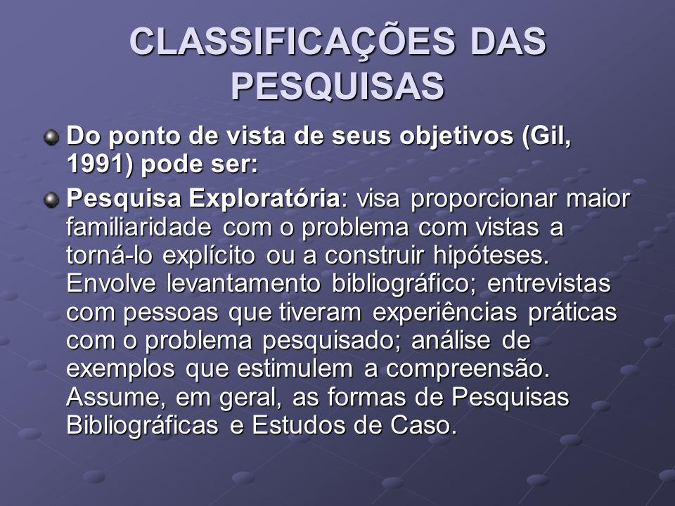 CLASSIFICAÇÕES DAS PESQUISAS Do ponto de vista de seus objetivos (Gil, 1991) pode ser: Pesquisa Exploratória: visa proporcionar maior familiaridade co